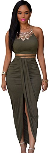 Christmas DH-MS DressWomen's Olive Faux Suede Two Piece Maxi Skirt Set Onesize (Cheap Fancy Dress Outfits)
