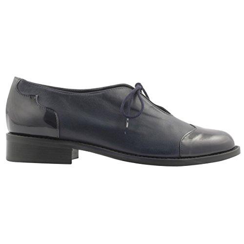 Marino Paris para de Zapatos Exclusif Azul Mujer Cordones w0xaqaU7g