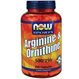 Now Foods Arginine & Ornithine 500/250mg - 250 Caps 4 Pack