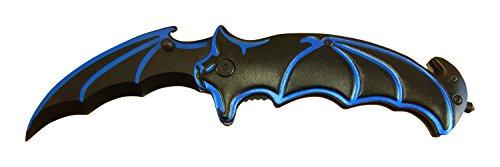 Batman Knife BAT FACE! Spring Assisted Opening Tactical Folding Blade BLACK w/Blue