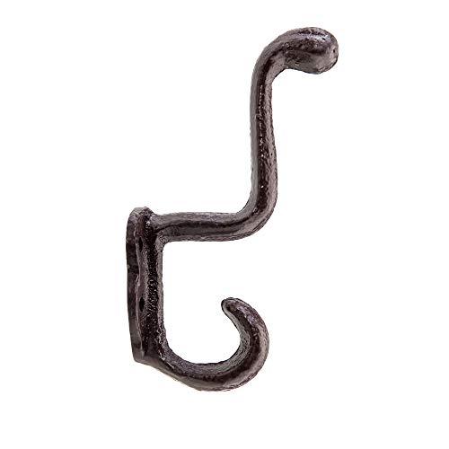 Wall Hook, Cast Iron Snake Hook, Old School Vintage Inspired Decorative Hook, Single Hanger for Coat, Bag, Towel etc. (Brownish Red)