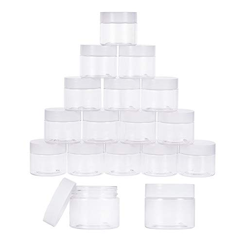 PandaHall Elite 18 Pieces 2 Oz Empty Clear Plastic Sample Containers Slime Storage Favor Jars Round Cosmetic Travel Pot with White Screw Cap Lids for Beads, Jewelry, Make Up, Nails Art, Cream