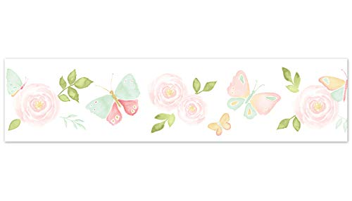 Sweet Jojo Designs Blush Pink, Mint and White Watercolor Rose Wallpaper Wall Border for Butterfly Floral Collection ()