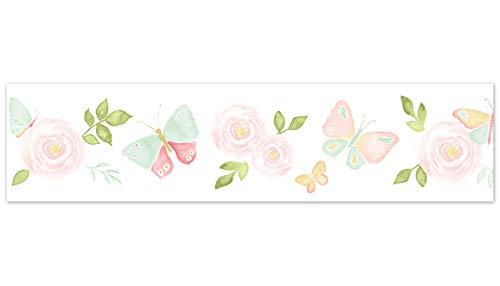 Border Garden Butterfly Wallpaper - Sweet Jojo Designs Blush Pink, Mint and White Watercolor Rose Wallpaper Wall Border for Butterfly Floral Collection