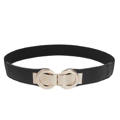Allegra K Black Faux Leather Metal Interlock Buckle Stretch Cinch Waist Belt Band (Interlocking Buckle)