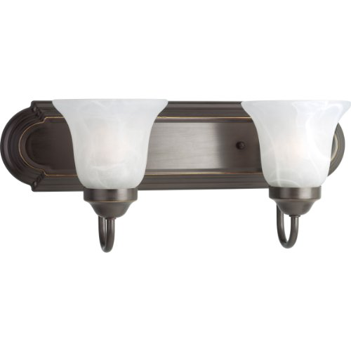 Progress Lighting P3052-20 2-Light Bath Bracket, Antique Bronze