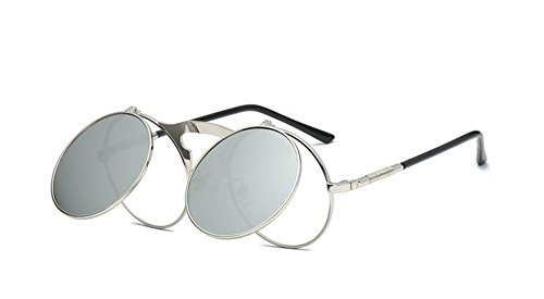 lunettes cadre Worclub lunettes neutre rétro Style gothique soleil de ronde steampunk protection style design UV Argent Argent pRwXUp