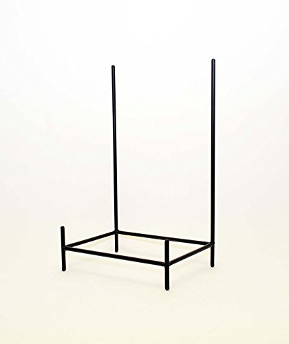 [Wrought Iron Rectangular Bowl Stand-19.5 Inches Tall by 11.75 Inches Wide x 8 inches deep. Handmade. Painted Bronze] (Bronze Easel Stand)