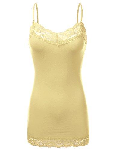 JJ Perfection Women's Adjustable Spaghetti Strap Lace Trim Cami Tunic Tank Top Banana S