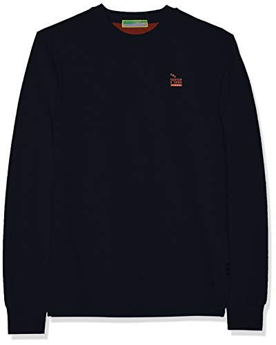 Scotch & Soda Men's Bright Logo Detail Pullover, Night, L (Scotch And Soda Sweater)