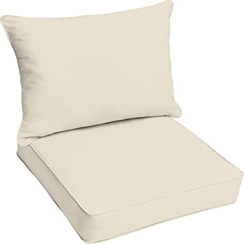Brayden Studio Reversible Polyester Garden Patio Lounge Chair Foam Pillow Cushion for Indoor/Outdoor Use + Free Ebook (Ivory) from Brayden Studio