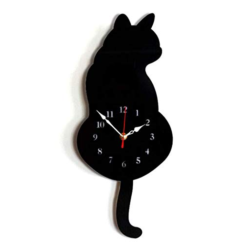 Lvyuanda DiDa Clock Cartoon Cat Wall Clock Mute Home Decoration Wagging Tail Swing Silent Movement