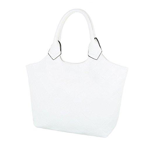Ital-Design - Bolso de asas de Material Sintético para mujer blanco beige