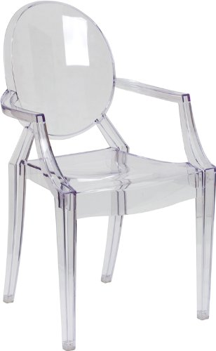 Flash Furniture Ghost Side Chair in Transparent Crystal with Arms