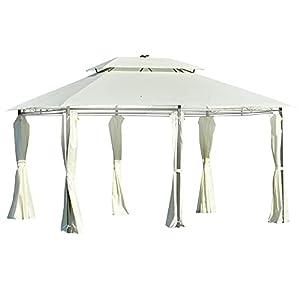 Outsunny Carpa de Jardín 4×3 m Cenador con Doble Techo 6 Cortinas Laterales Luz LED con Panel Solar para Patio Terraza Color Crema