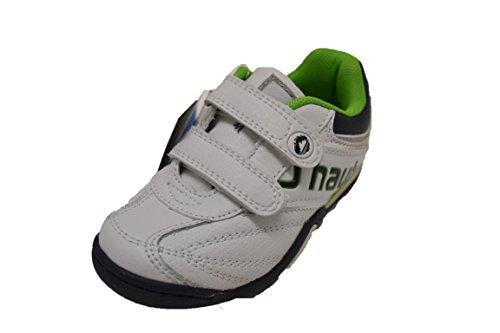 JHayber Woka - Zapatillas deportivas de piel para niño con cierre de velcro, color blanco y verde