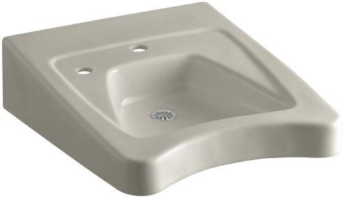 KOHLER K-12638-L-G9 Morningside Wheelchair Bathroom Sink with Single-Hole Drilling and Soap Dispenser Drilling on Left, Sandbar -