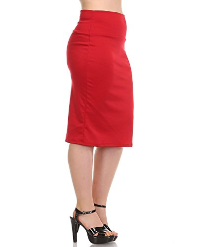 Bold And Beautiful Women's Knee Length Pencil Skirt - High Waisted - Fold Over - Stretchy - Plus Size - Made in USA (2X, Red)