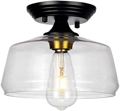 HMVPL Glass Close to Ceiling Light, Modern Semi Flush Mount Pendant Lighting Fixtures for Kitchen Island Dining Room Foyer Hallway Entryway Farmhouse