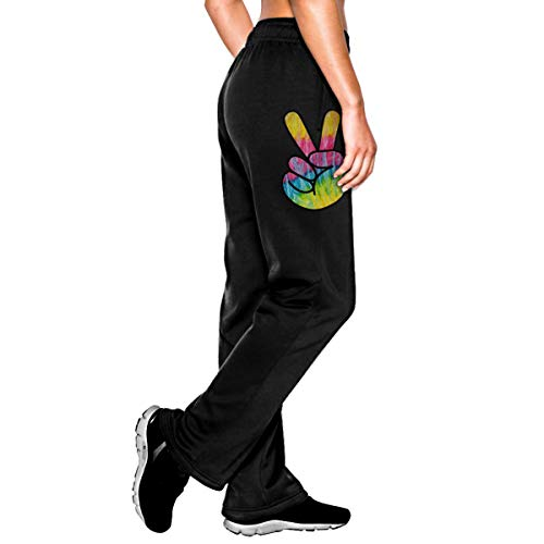 Bubu098PO Womens Jogger Sweatpants Tie Dye Psychedelic Peace Sign Casual Stretch Cotton Jersey Pant Black ()