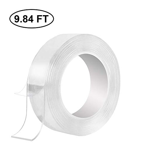 LECIEL Traceless Washable Adhesive Tape, Reusable Nano Gel Grip Tape Double-Sided Removable Tape Sticky Strips Grip for Paste Photos and Posters, fix Carpet mats, Paste Items etc. (3 Meters)