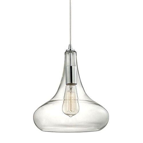 Home Decorators Collection 1-Light Polished Chrome Glass Pendant with Vintage Bulb - Chrome Polished Collection Pendant