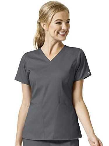 WonderWink Pro Women's 6319 4 Pocket V-Neck Scrub Top -Pewter -Medium - Medical Two Pocket V-neck Top