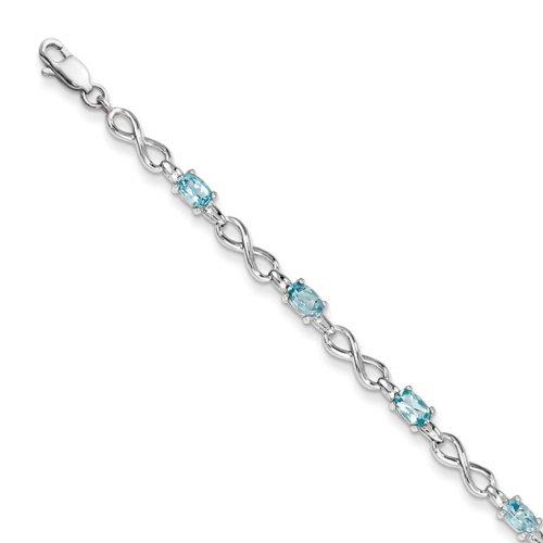 Icecarats Créatrice De Bijoux En Argent Sterling Topaze Bleue Bracelet En 7,5 Pouces