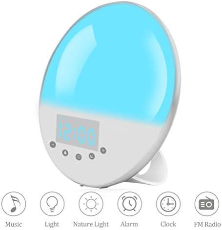 目覚まし時計ウェイクアップライト-日の出/日没シミュレーションベッドサイドナイトランプ、FMラジオ付きテーブルナイトライト、スヌーズ機能、7色、キッズベッドルーム用30明るさレベル
