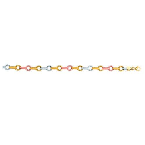 14K 18,4cm Jaune + Blanc + or rose texturé brillant tricolore Barre + maillons ronds Fancy B Racelet