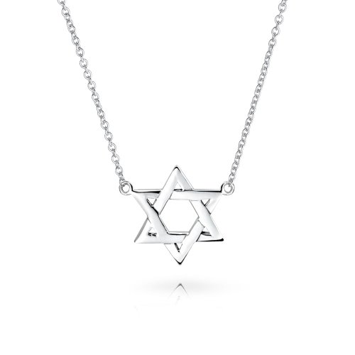 (Hanukkah Menorah Star Of David Magen Jewish Pendant Station Necklace For Women Intertwined 925 Sterling Silver 17 Inch)