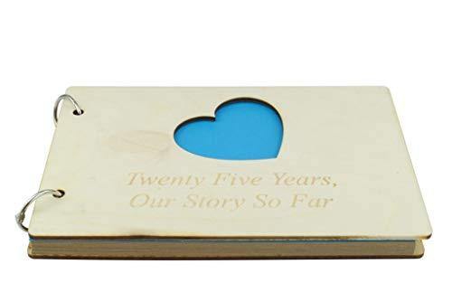 25 Year Anniversary Wooden Scrapbook - Perfect for Your Husband or Boyfriend