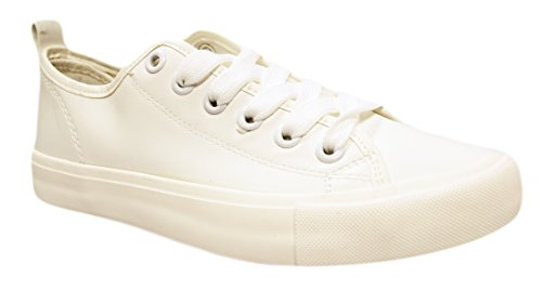 Womens Low Top Faux Leather Shoes Lace Up Sneakers Basic Athletic Tennis Shoes Vegan Leather (8, White)