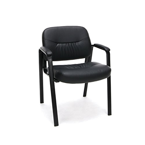 Essentials Leather Executive Side Chair - Guest/Reception Chair, Black (ESS-9010) (Side High Chair)