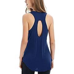 afc73f9de473e Fihapyli Women s Backless Tank Top Keyhole Workout Shirts Ope .