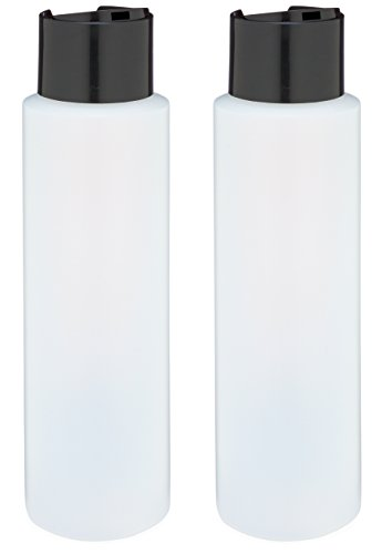 "Price comparison product image 2 Pack Refillable 16 Ounce HDPE Squeeze Bottles With ""Stand On The Cap"" Dispenser Tops--Great For Lotions, Shampoos, Conditioners and Massage Oils From Earth's Essentials (BLACK CAP)"