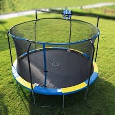 BOUNCE PRO 14' Trampoline Blue/Yellow Enclosure and Basketball Hoop, by Bounce Pro (Image #1)