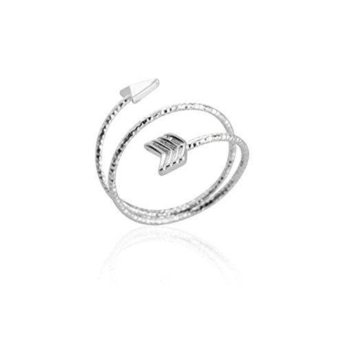 MUZHE Adjustable Arrow Ring Multilayer Wrap Stackable Knuckle Ring for Women Girls Wedding Gift (Silver) (Wrap Arrow Ring)