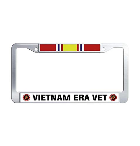 Hensonata Cool Stainless Steel License Plate Frame, Vietnam Era Veteran Ribbon Car Licence Plate Covers Slim Design with Screw Caps Car Licenses Plate Covers Holders for US Vehicles