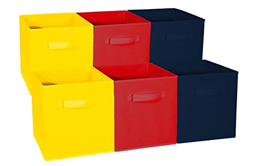 (Sorbus Foldable Storage Cube Basket Bin - Great for Nursery, Playroom, Closet, Home Organization (Multi - Yellow Red Navy, 6 Pack))