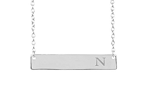 - Sterling Silver Initial Bar Necklace, 925 Sterling Silver, 16-18 Inches, Strong Lobster Clasp