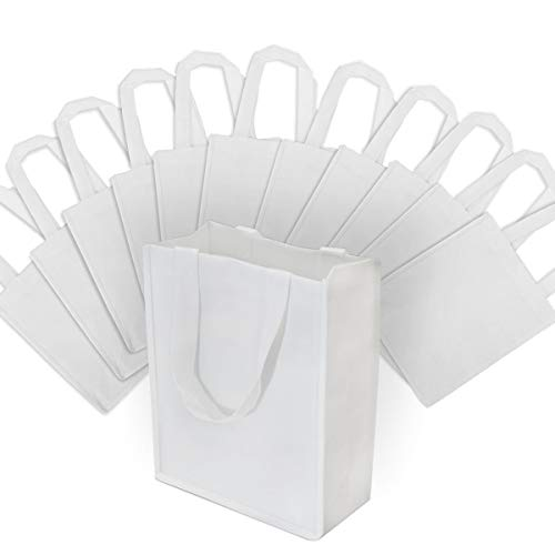 "8x4x10"" 12 Pcs. Medium-Small White Reusable Tote Bags, Grocery Bags, Fabric Shopping Bags with Handles Eco Friendly- 100% Recyclable Bag"