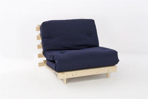 Comfy Living 3ft LUXURY Single (90cm) Wooden Futon Set PREMIUM LUXURY Navy Mattress