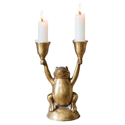 Zxb-shop- Candelabras Frog Modeling Candle Holder Brass Candlestick Retro Art Home Furnishings