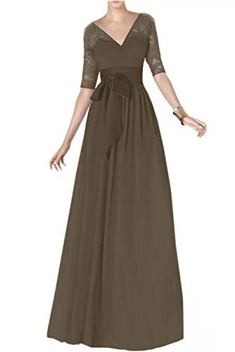 Traube Abendkleider Braut Marie La Lang Langarm Spitze Brautmutterkleider Chiffon Braun Partykleider axwq6EBYq
