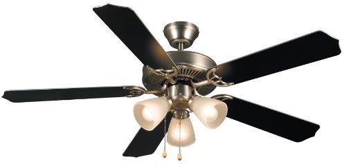 Hardware House 415935 Paladuim Flush-Mount 52-Inch 5-Blade Ceiling Fan with Optional Light Fixture, Satin Nickel