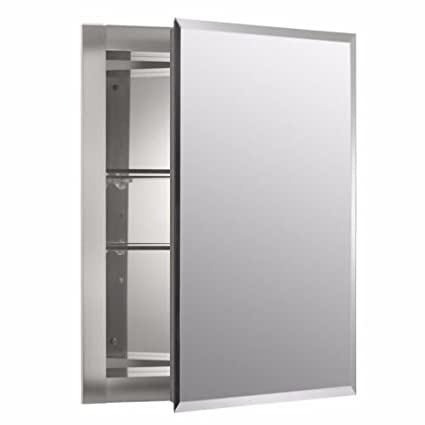 Mirrored Wall Mount Medicine Cabinet Shelf Shelves Bathroom Aluminum Glass  SALE