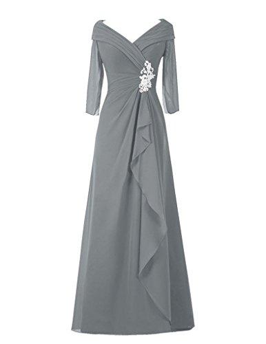 Cdress Perles Col V Manches Longues Mère En Mousseline De Robes De Mariée Robes De Bal Gris