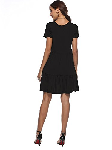 Summer Mid Length Amoin Black Casual Ruffle Tunics Sleeve Loose Dress Swing Women Short wfTxB