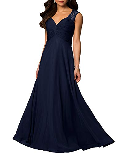 Aofur Womens V Neck Chiffon Casual Maxi Dress Wedding Evening Gowns Summer Sleeveless A-Line Party Long Skirt (Large, Navy)